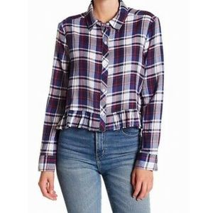 plaid button down with ruffle trim